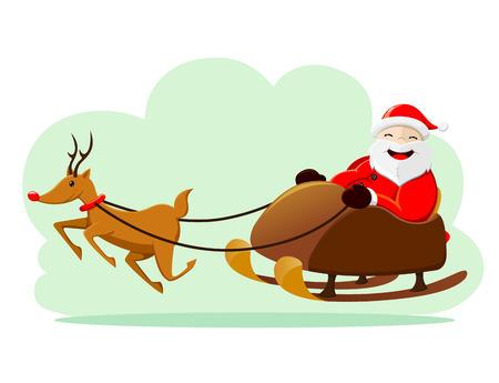 Kerstman rijden slee Stock Illustratie