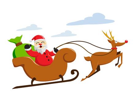 Santa claus sleigh Illustration