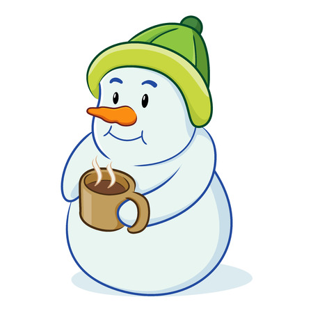 Snowman drinking coffee