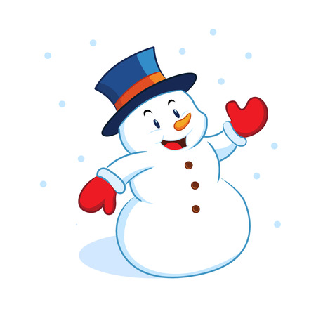 Snowman waving Illustration