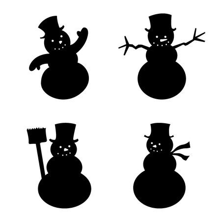 Snowman silhouet set Stock Illustratie