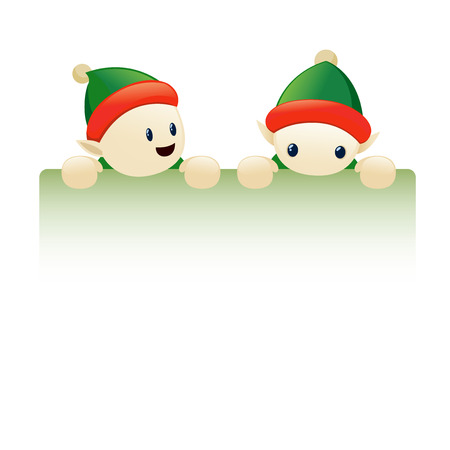 Chrismas elves holding a blank card