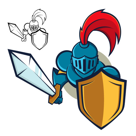 crusader: Knight with Shield and sword Illustration