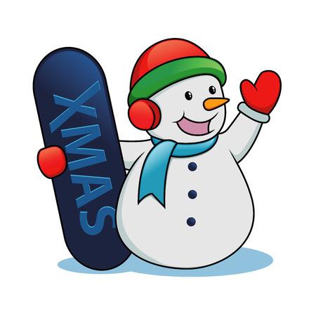 Snowman holding snow board Vector