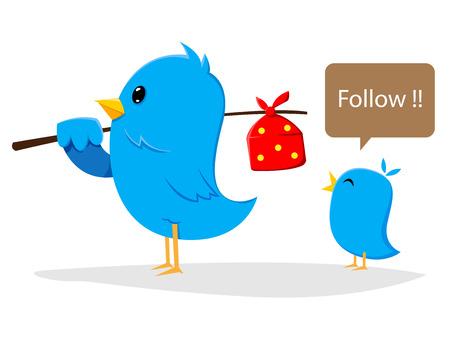 Blue bird following Illustration