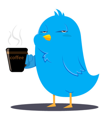 Blue bird holding a cup of coffee