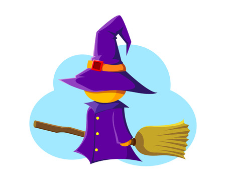 litle: litle witch with broomstick