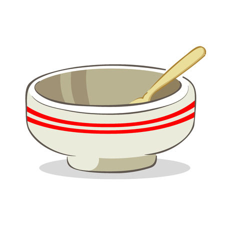 empty bowl: Vector illustration of an empty bowl with spoon