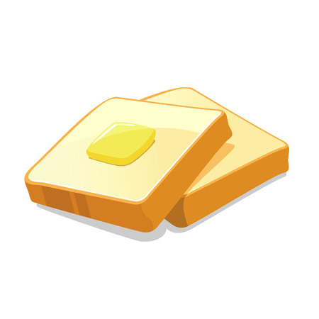Vector illustration of butter on top of two slices of bread Vector