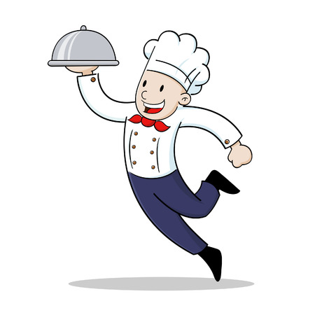 Vector illustration of a chef holding a silver food platter Vector