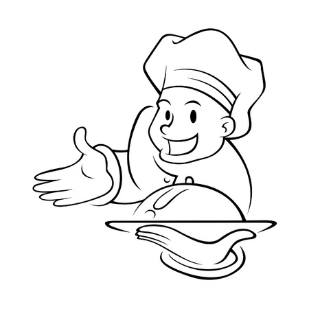 Vector illustration of a chef holding a food tray