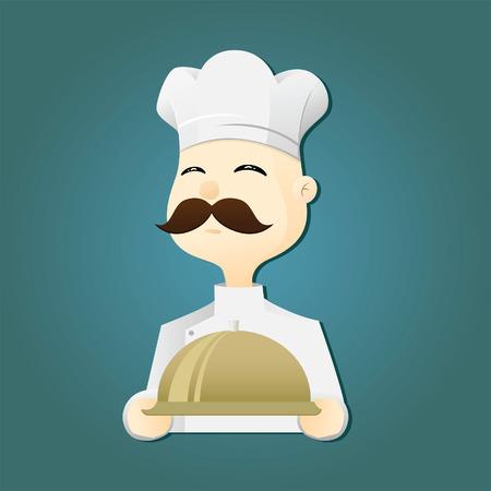 bandeja de comida: Vector ilustraci�n de un chef con una bandeja de comida
