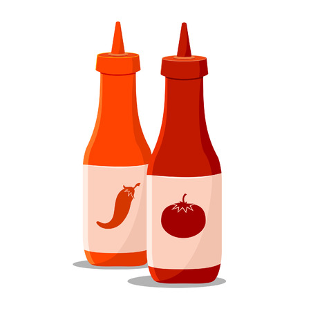 tabasco: Vector illustration of two bottle of tomato and chilli sauce