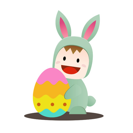 cary: Vector illustration of children in Easter bunny costume