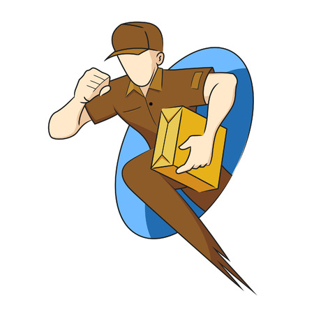 Vector illustration of a delivery man character Vector