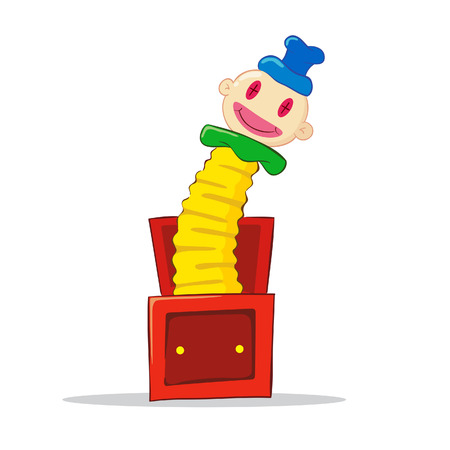 Vector illustration of a joker in the box