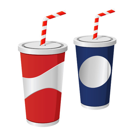 vector illustration of two soda cups  イラスト・ベクター素材