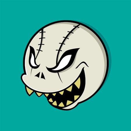 Vector illustration of a ball with skull face Vector