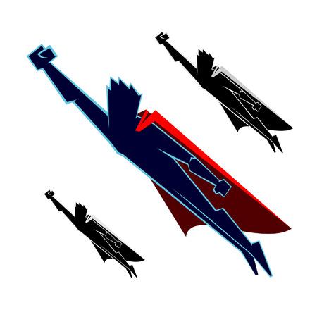 flying man: vector illustration of  Hero Flying Illustration
