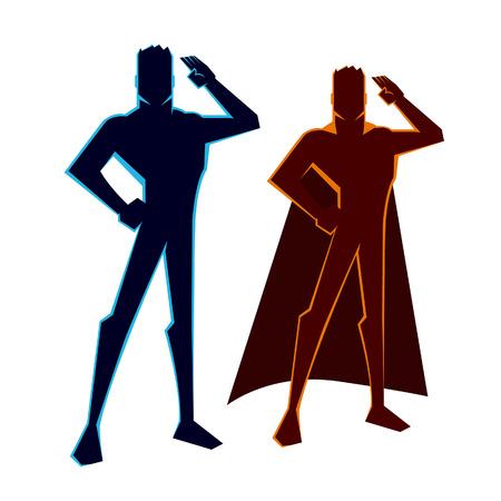 vector illustratie van een held figuur begroetingen Stock Illustratie