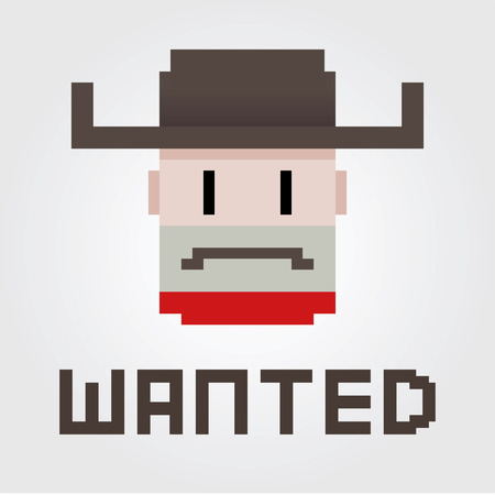 Vector illustration of a wanted poster of a cowboy