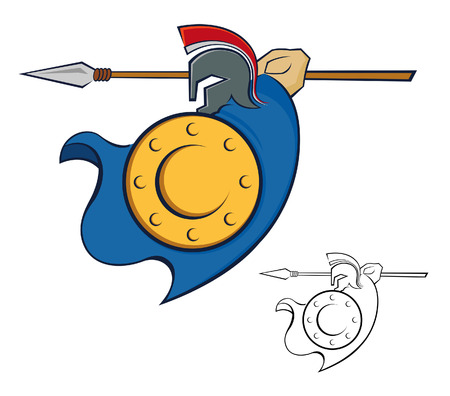 Vector illustration of a Trojan warrior with shield and spear Vector