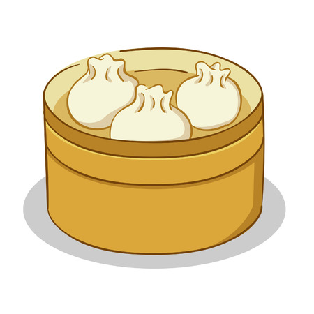 illustration of Dim Sum in bamboo steamer Vector
