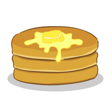 maple syrup: illustration of a stack of pancake with butter on top