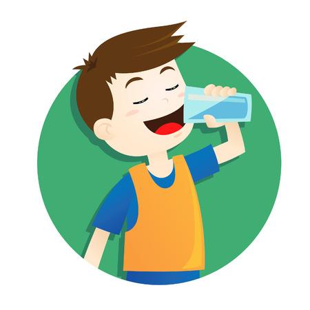 少年は、水を飲む