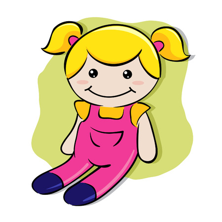 Little girls play doll