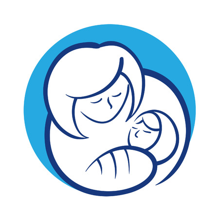 mother holding baby: Mother holding her baby Illustration
