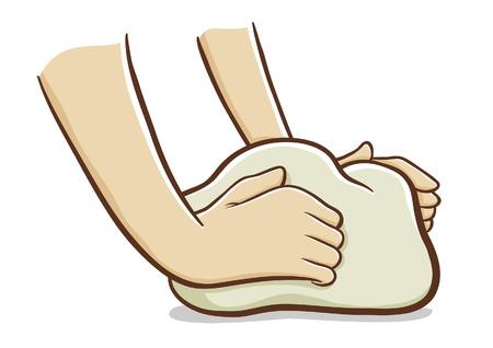 dough: Hands kneading dough