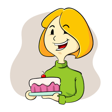 Woman holding a cake Illustration