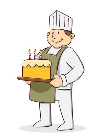 Chef holding birthday cake Illustration