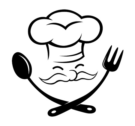 chef with spoon and fork icon