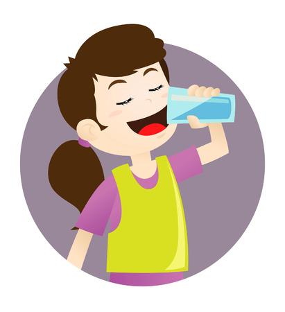 vaso de agua: Chica de agua potable Vectores