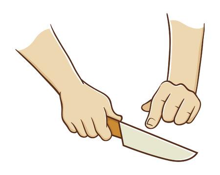 Hands holding a knife Illustration