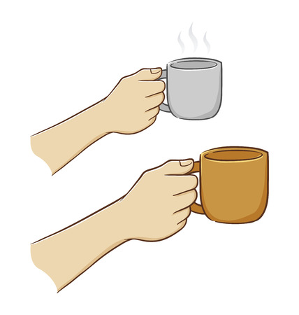 Hand holding a cup Illustration