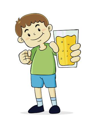 Vector Illustration of a Boy Holding a glass of Orange Juice
