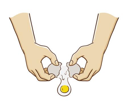 Vector illustration of hands breaking an egg Illustration