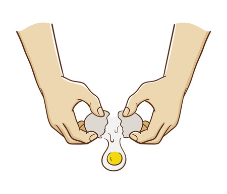 Vector illustration of hands breaking an egg Ilustração