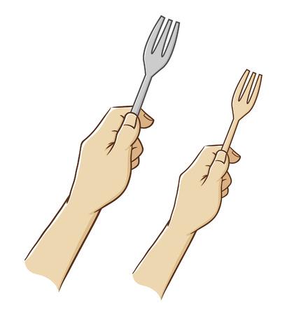Vector illustration of hand holding a fork Illustration