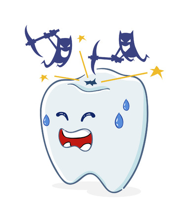 cavity: Vector illustration of a Tooth with Cavity and Bacteria Illustration