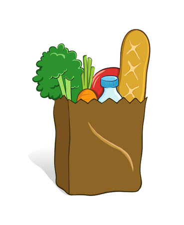 necessity: Vector illustration of a grocery bag full with groceries Illustration