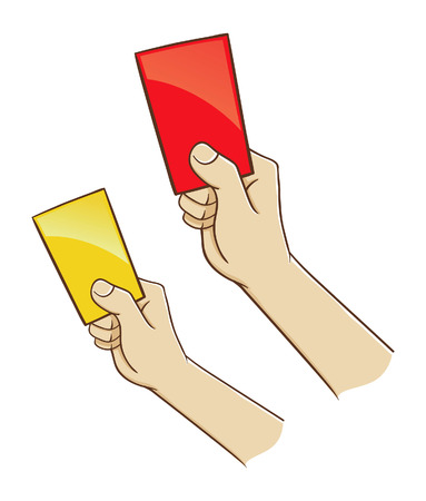soccer referees hand with red card: Vector illustration of a hand holding red and yellow card