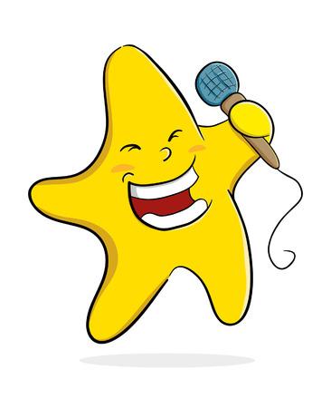 cantaba: Ilustración vectorial de una estrella del canto mientras sostiene un micrófono