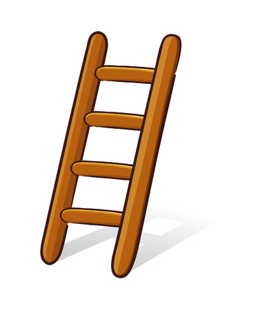 backstairs: Vector illustration of a wooden ladder