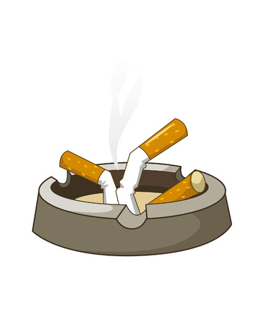Vector illustration of cigarettes on ashtray