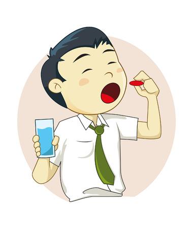 Vector illustration of a man taking a pill Illustration