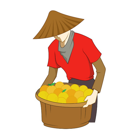 collecting: Vector illustration of a farmer collecting oranges in a basket